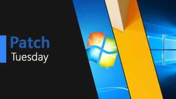 Patch Tuesday text next to the default background of Windows 7 8 point 1 and 10
