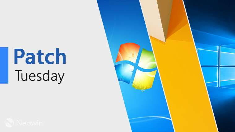Patch Tuesday text next to the default backgrounds of Windows 7 8 and 10