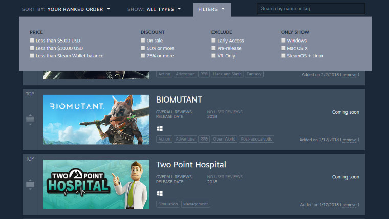 Valve Updates Steam Wishlists With More Information, New Features