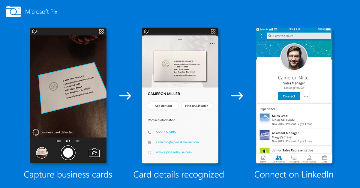 Microsoft pix gets new business card feature with linkedin microsoft today is releasing an update for pix its ai powered camera app for ios that was initially released in mid 2016 last september the company colourmoves Choice Image