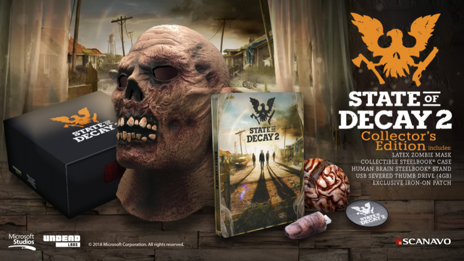 State of Decay 2 Collector's Edition features a latex zombie mask