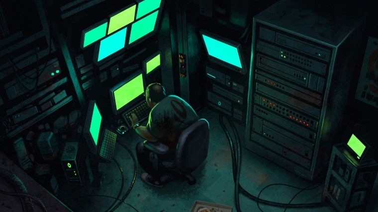 A person sitting in front of multiple computer screens and servers in an unclean environment