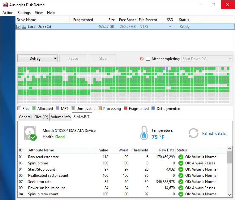 auslogics disk defrag professional ssd