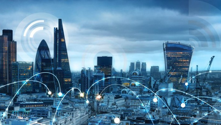 Artistic impression of phone signals with a London City background