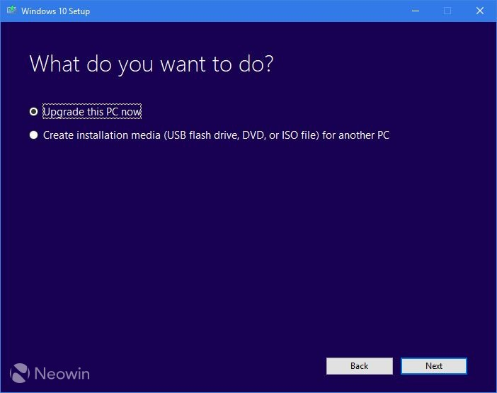 The first is to choose to upgrade the PC that you're running the utility on.