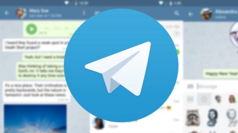Telegram logo laid on top of blurred screenshots of the app