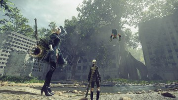 A screenshot from Nier Automata showing two characters in an open area