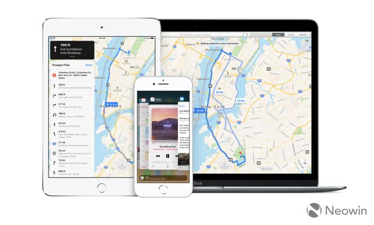 Apple Maps open on iPad iPhone and Mac