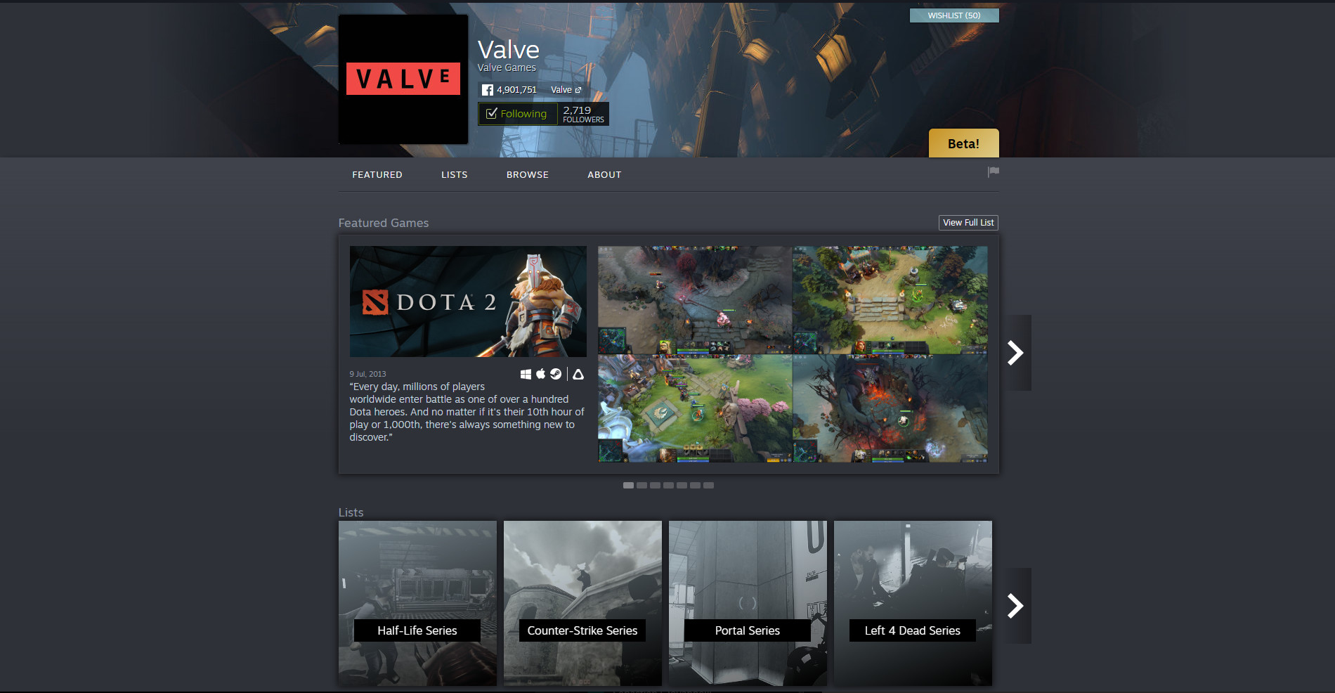 Steam now has publisher and developer homepages to show