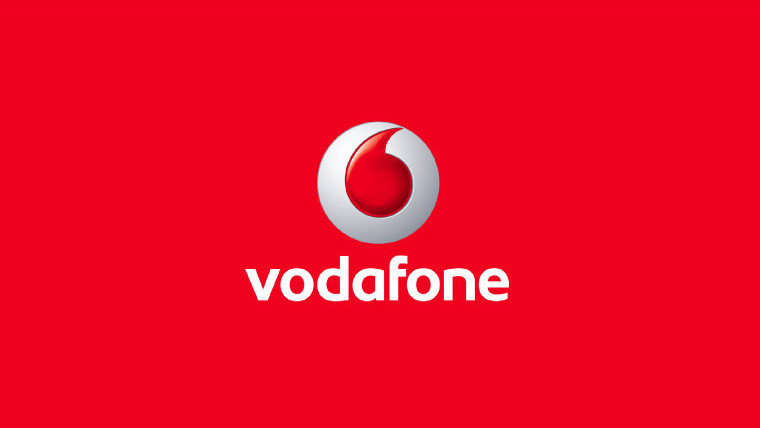 Vodafone logo on a red background