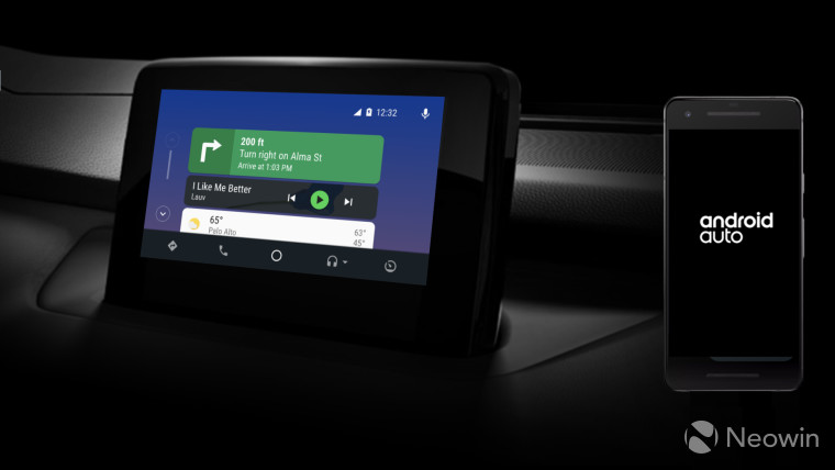 Android Auto running on a car screen and a phone screen