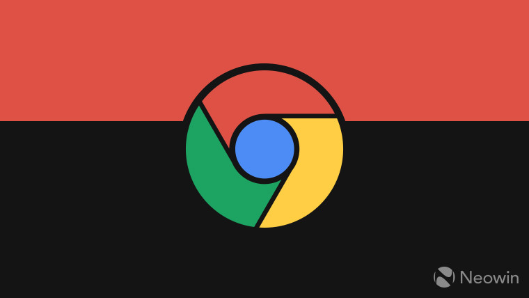 Google Chrome logo on a red and black background