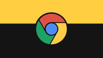 A Chrome logo on a yellow and black background