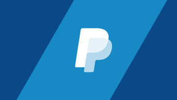 The PayPal logo on a blue background