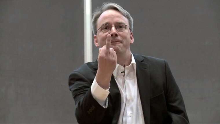 Linus Torvalds flipping the bird
