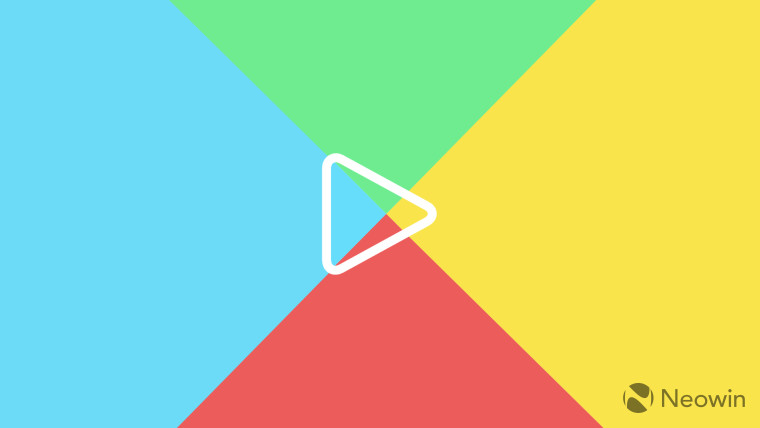 Outline of the Google Play Logo on a background featuring the original colors of the logo