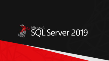 Microsoft SQL Server 2019 text and logo top part of the image is mostly black bottom part a mixture