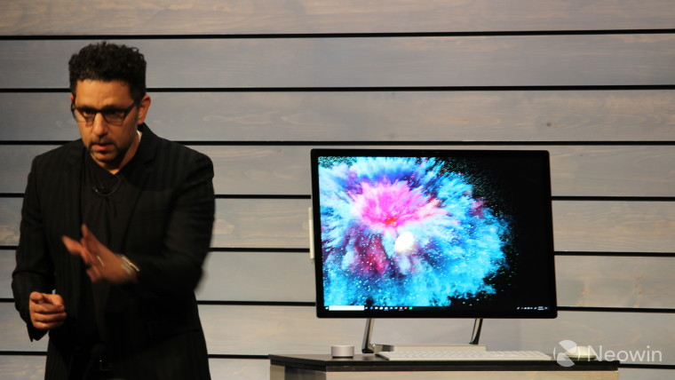 A pumped Panos Panay showing off Surface Studio 2