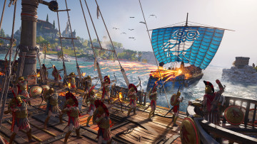 Assassin's Creed Odyssey screenshot showcasing a naval battle