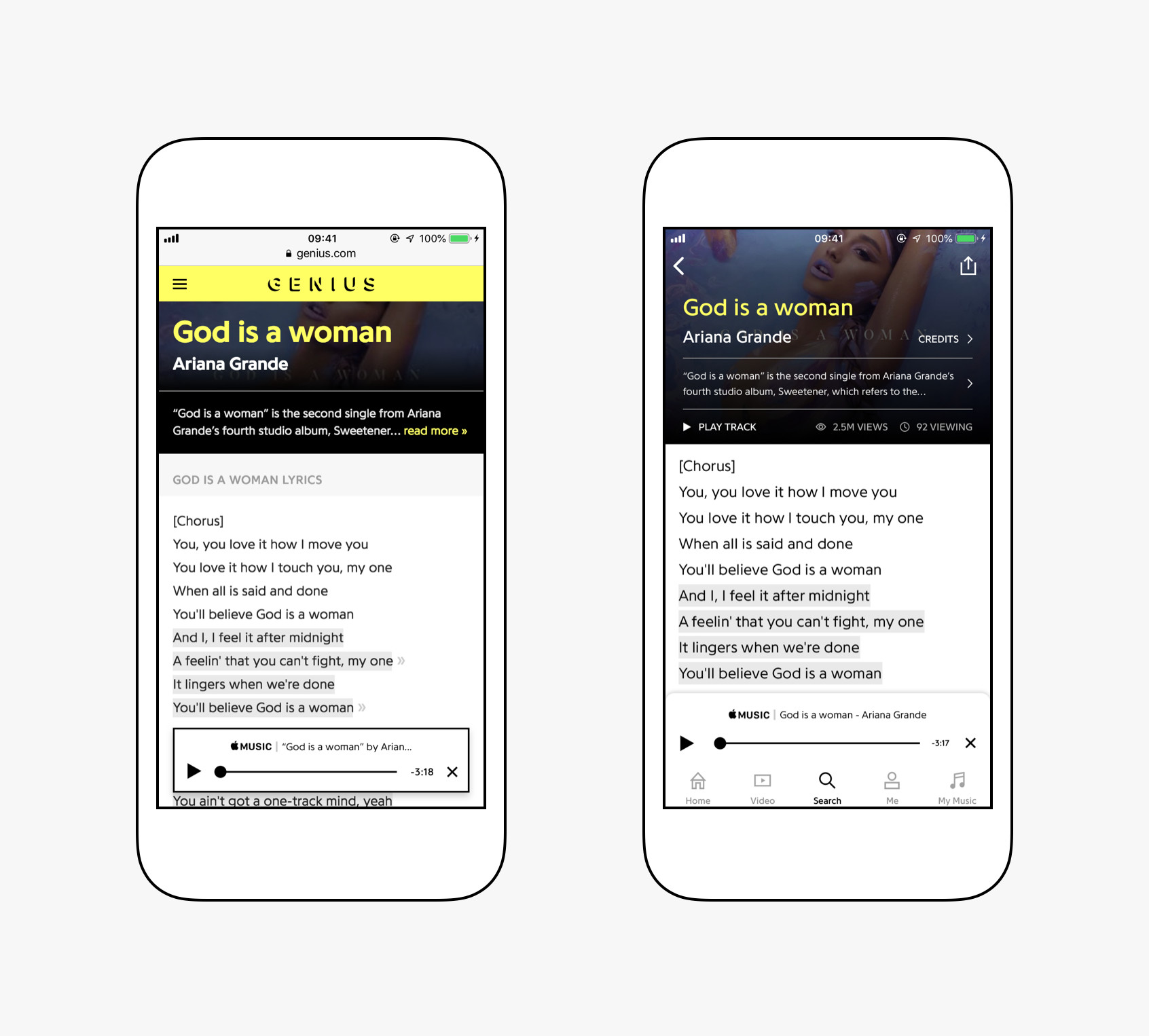Apple Music subscribers can now view Genius lyrics from within the app