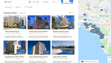 Screenshot showing off Google's hotel search in Honolulu