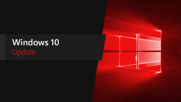 A red Windows 10 logo and the words Windows 10 Update