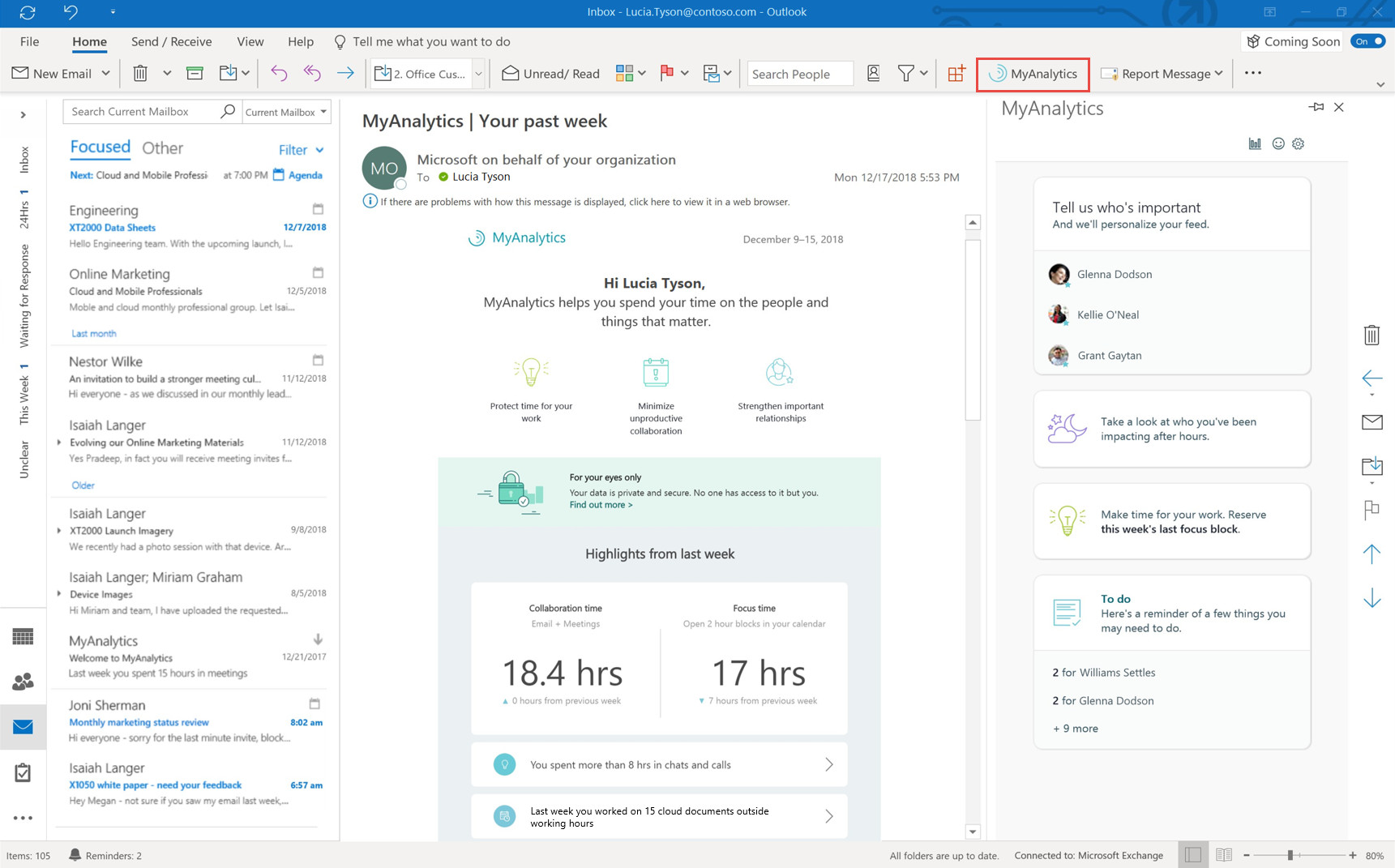 MyAnalytics is now available on Office 365 and Microsoft 365