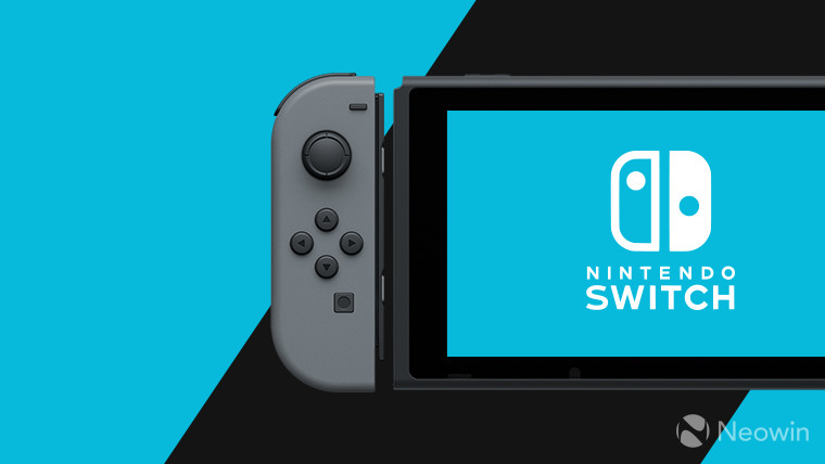Nintendo Switch on a black and cyan background