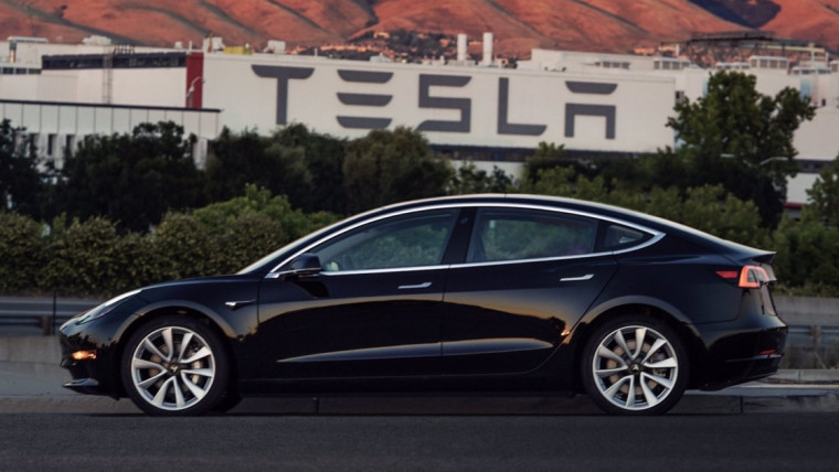 Side view of a Tesla Model 3