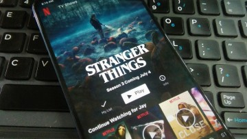 Netflix app showing a Stranger Things page on an Android phone