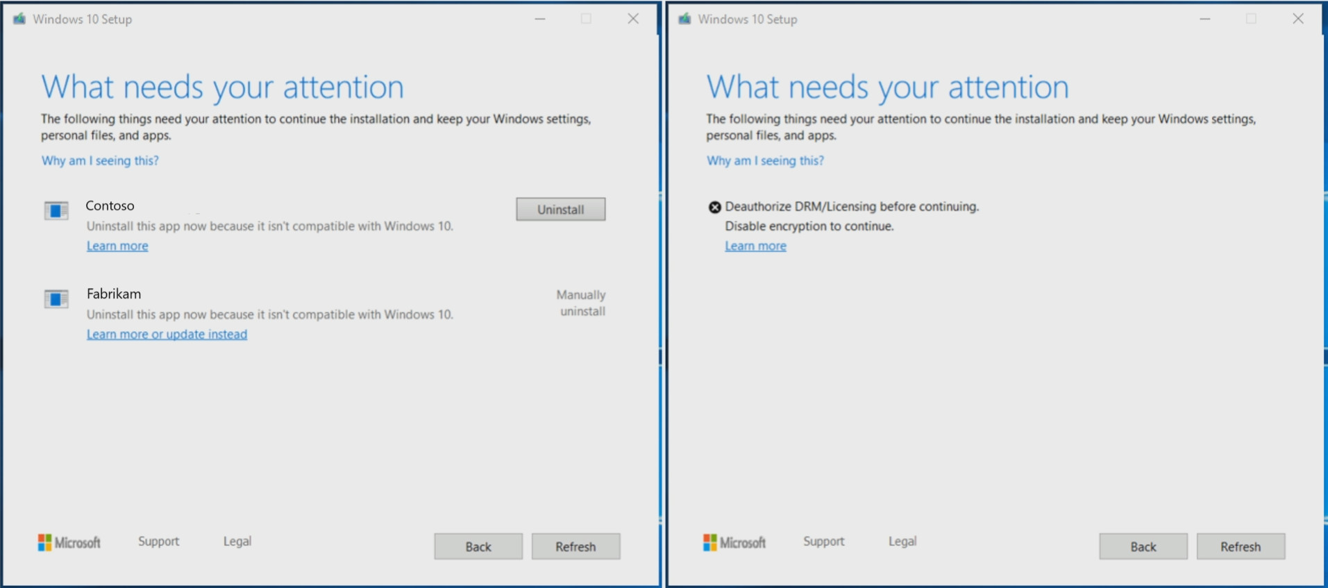 In Windows 10 1903, error messages in setup will offer solutions