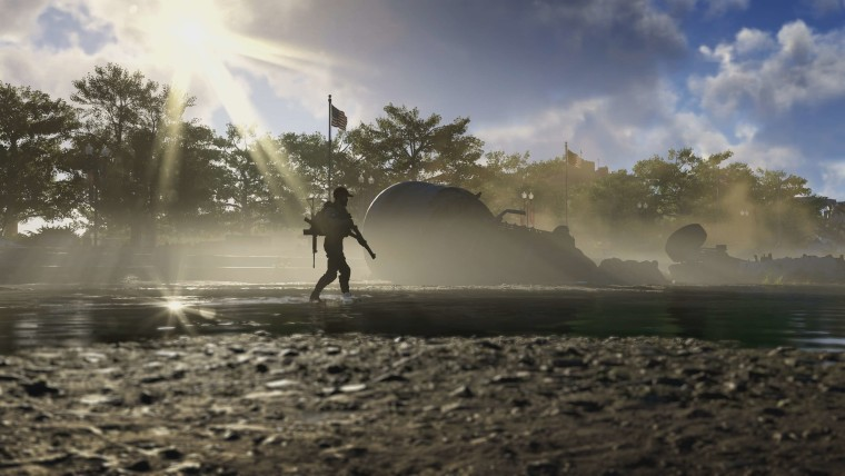 This is a screenshot from The Division 2 that focuses on the war-torn capital
