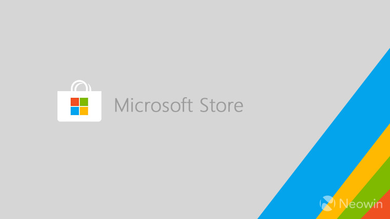 A logo of Microsoft Store on a grey background