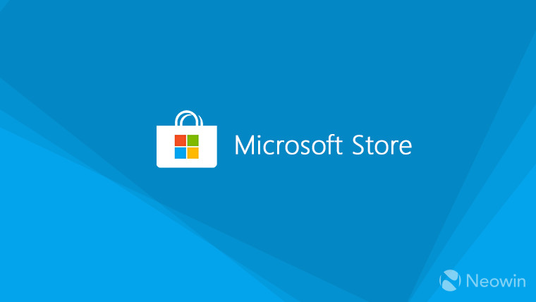 A Microsoft Store logo on a light blue background