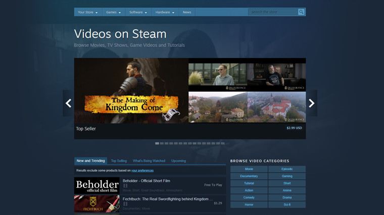 Valve is retiring non-gaming video content from the Steam