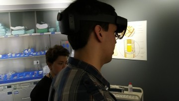 A person wearing a HoloLens 2 headset
