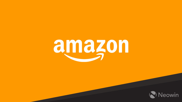The Amazon logo on an orange and black background