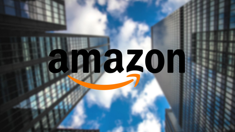 Amazon logo with skyscrapers in the background