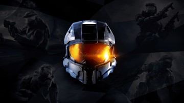 Master Chief helmet surrounded by Halo game covers