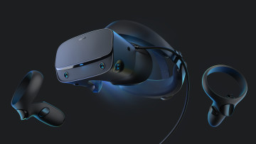 The Oculus Rift S VR headset in black alongside its Touch controllers