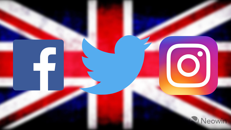 The Facebook, Twitter and Instagram logos on the UK flag