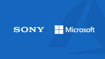 Logos for Sony Microsoft and Azure on a blue background
