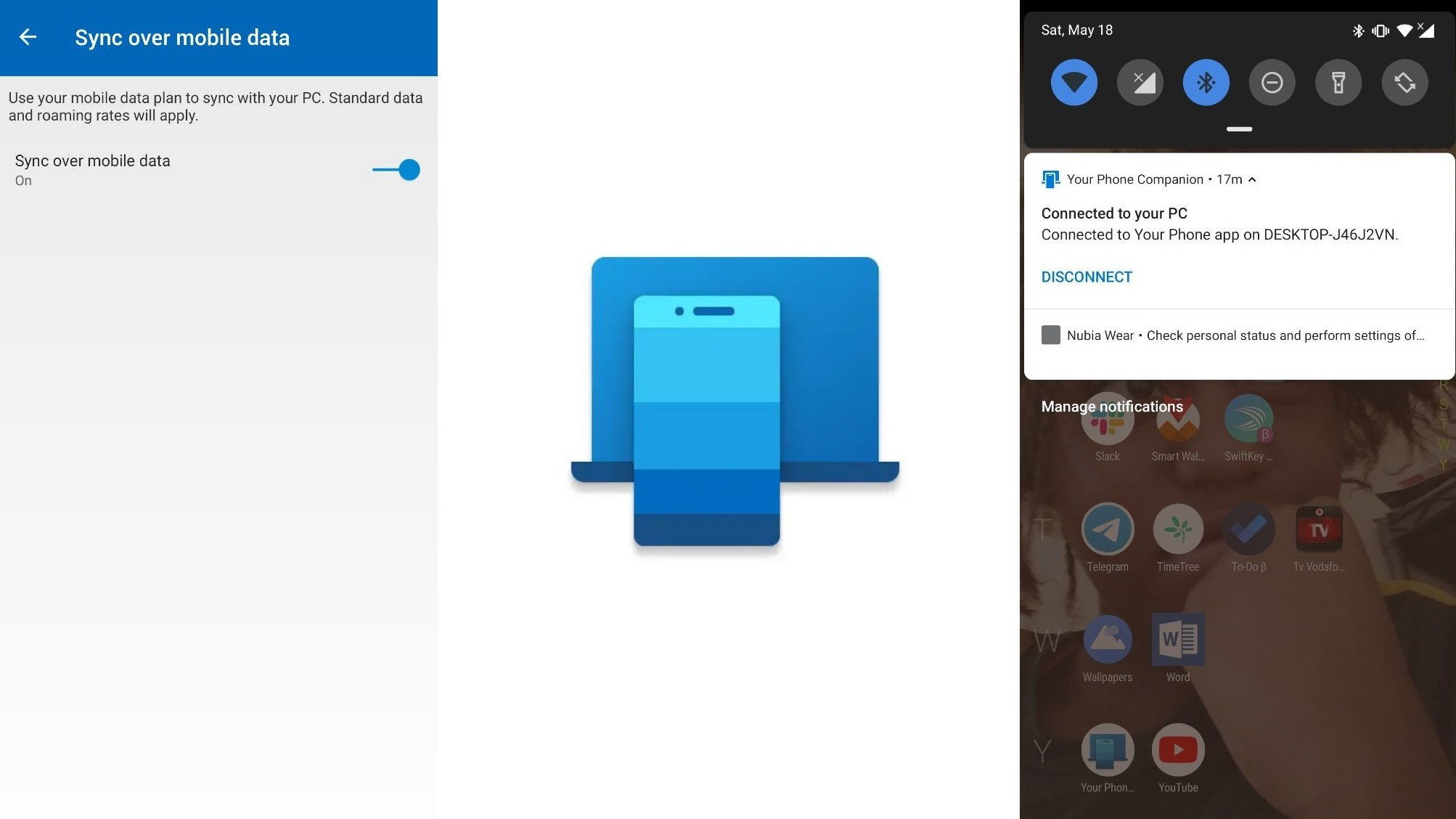Your Phone Companion gets a new icon and mobile data sync