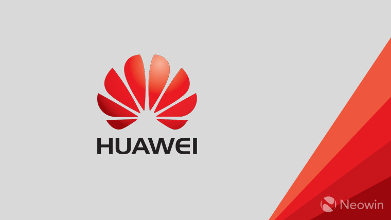 The Huawei logo on a grey and red background