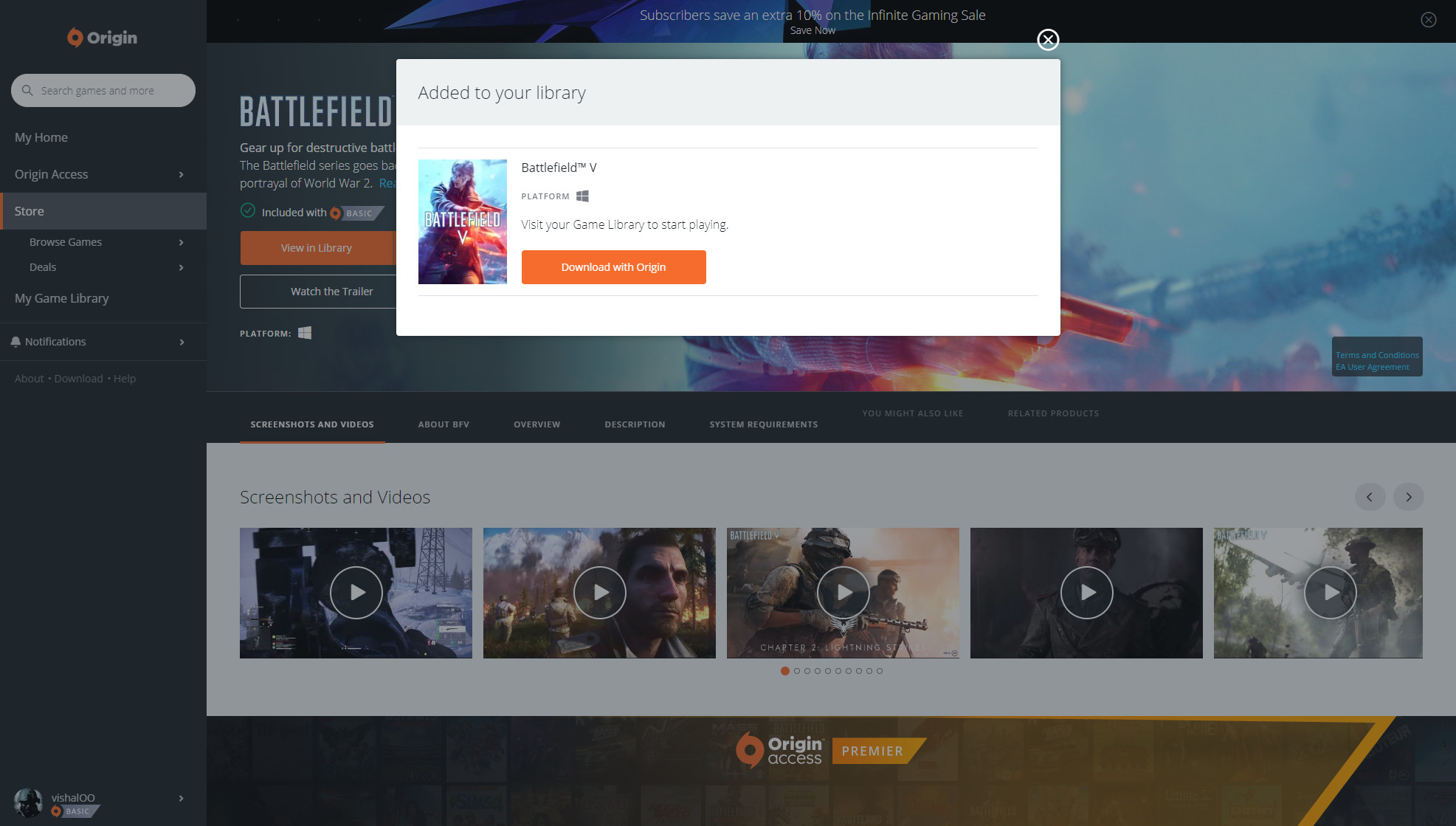 Battlefield V joins Origin Access Basic subscription, no longer