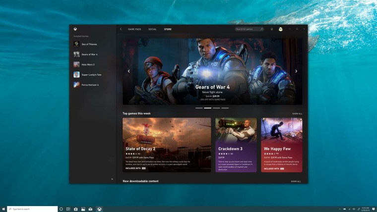 Xbox app for Windows 10 displaying the home page for the store