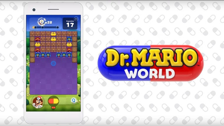 A screenshot of Dr Mario World running on mobile on the left with the logo on the right
