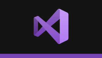 The Visual Studio logo on a black and purple background