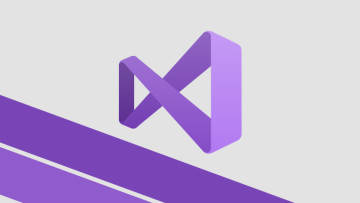 Visual Studio logo on a light background with purple stripes underneath