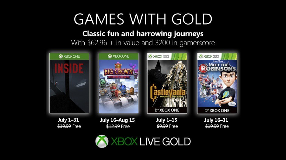July Games with Gold bring Inside, Castlevania Symphony of the Night